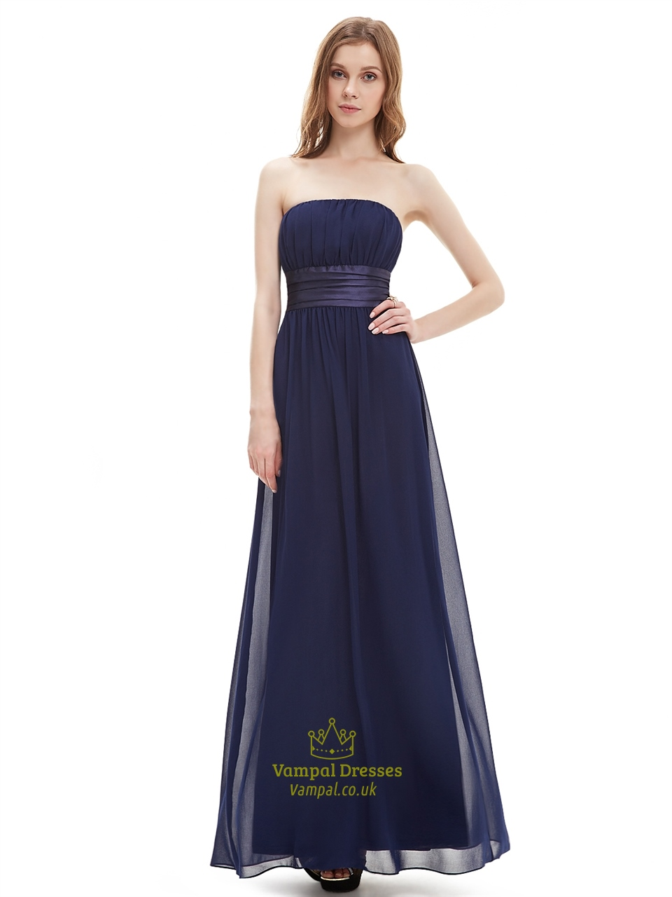 Navy blue strapless floor length chiffon bridesmaid dress for Blue sash for wedding dress