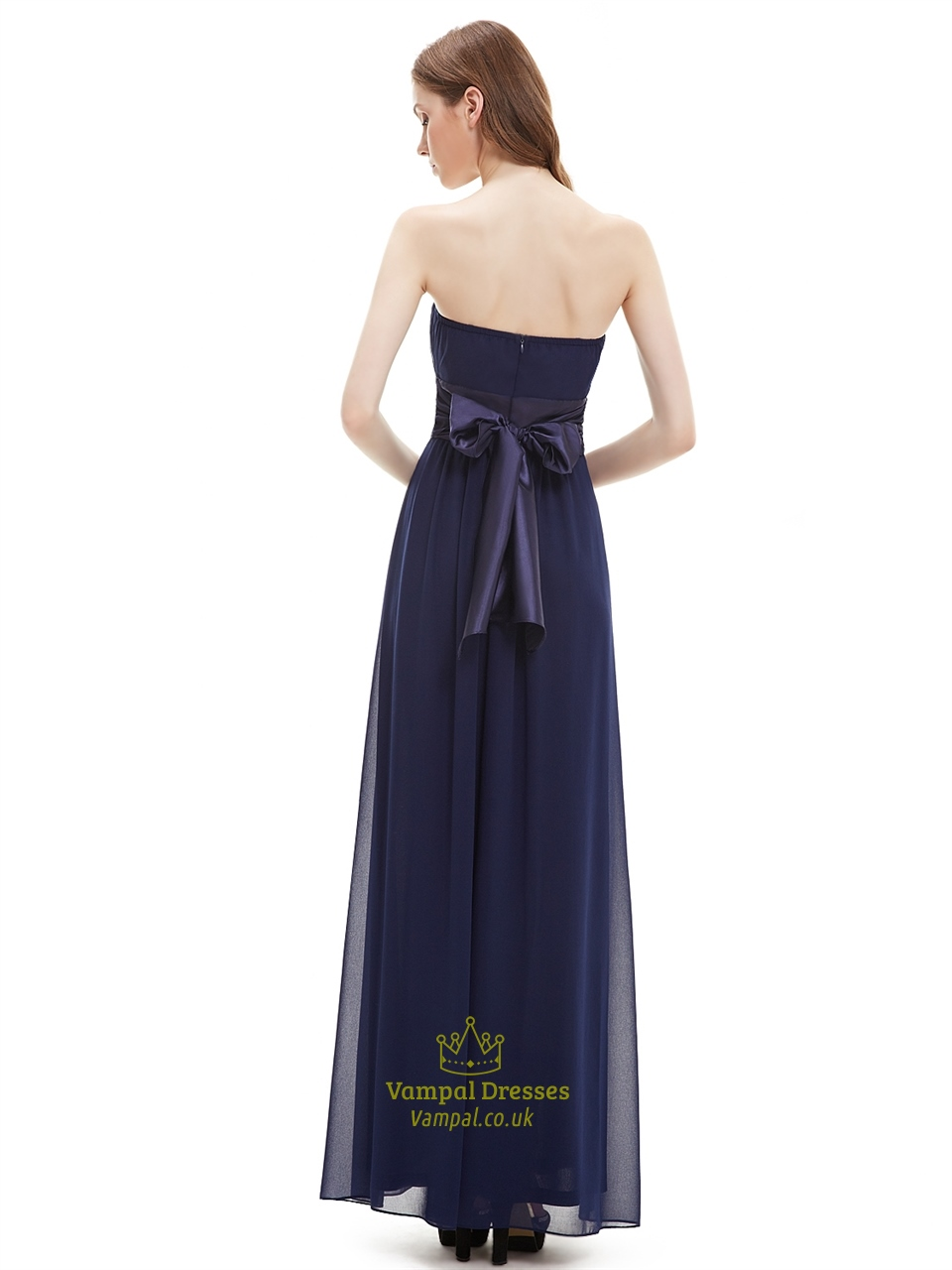 Navy blue strapless floor length chiffon bridesmaid dress for Navy blue wedding dress