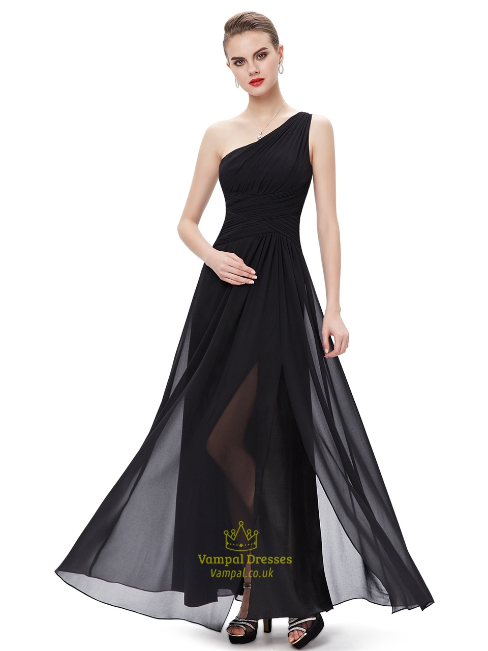 Black chiffon one shoulder floor length bridesmaid dresses for Floor length gowns