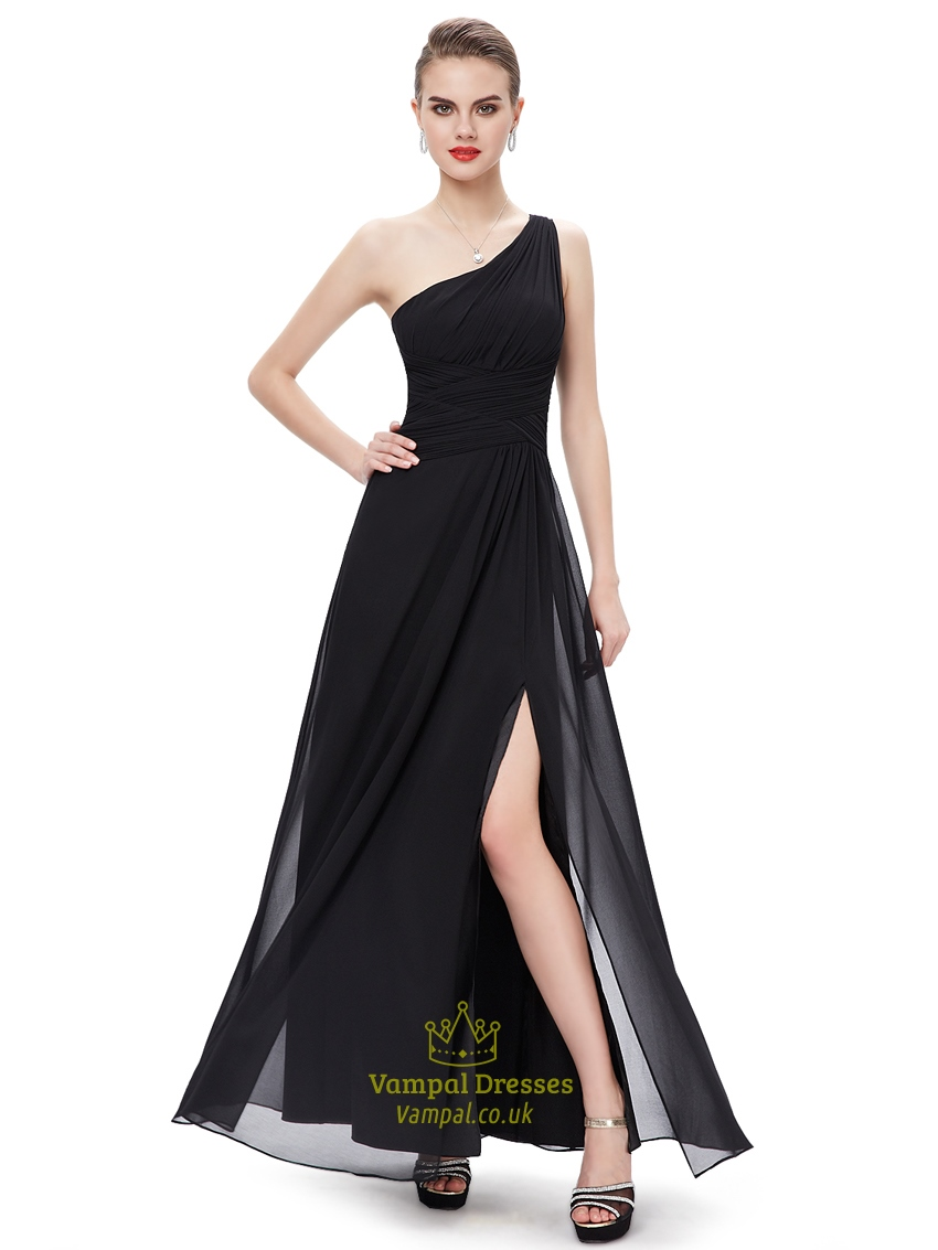 Black chiffon one shoulder floor length bridesmaid dresses for Mid length wedding dress