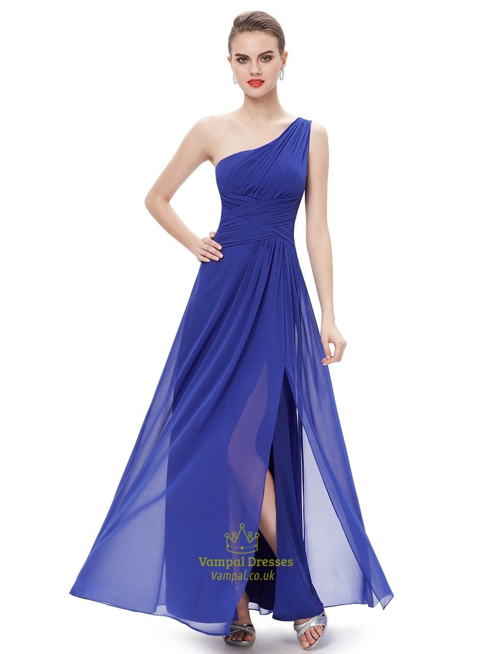 Fashion week Blue royal bridesmaid dresses chiffon for girls