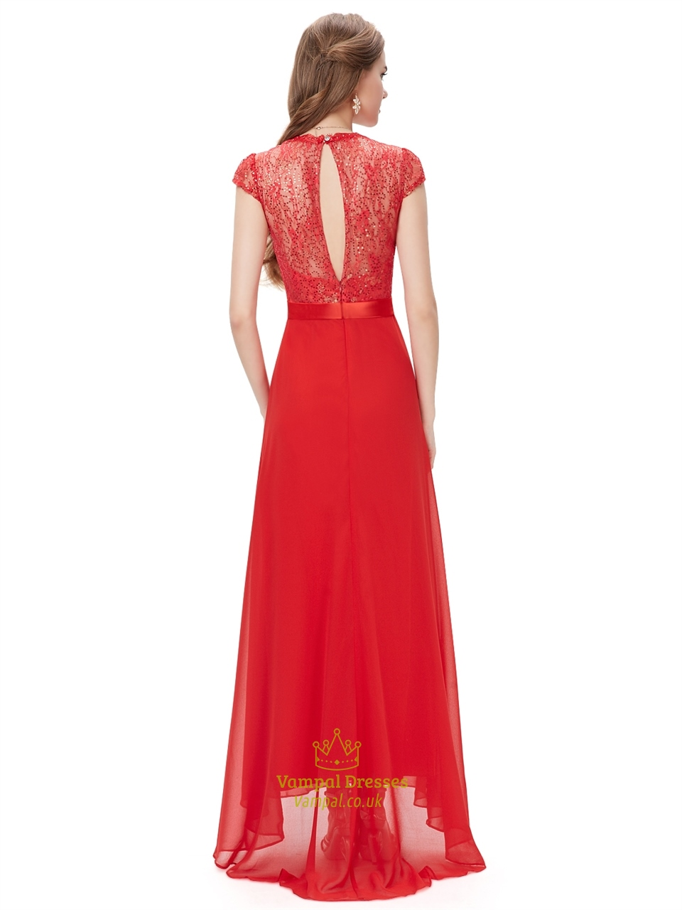 Red Long Chiffon Sequin Embellished Prom Dress With Beaded