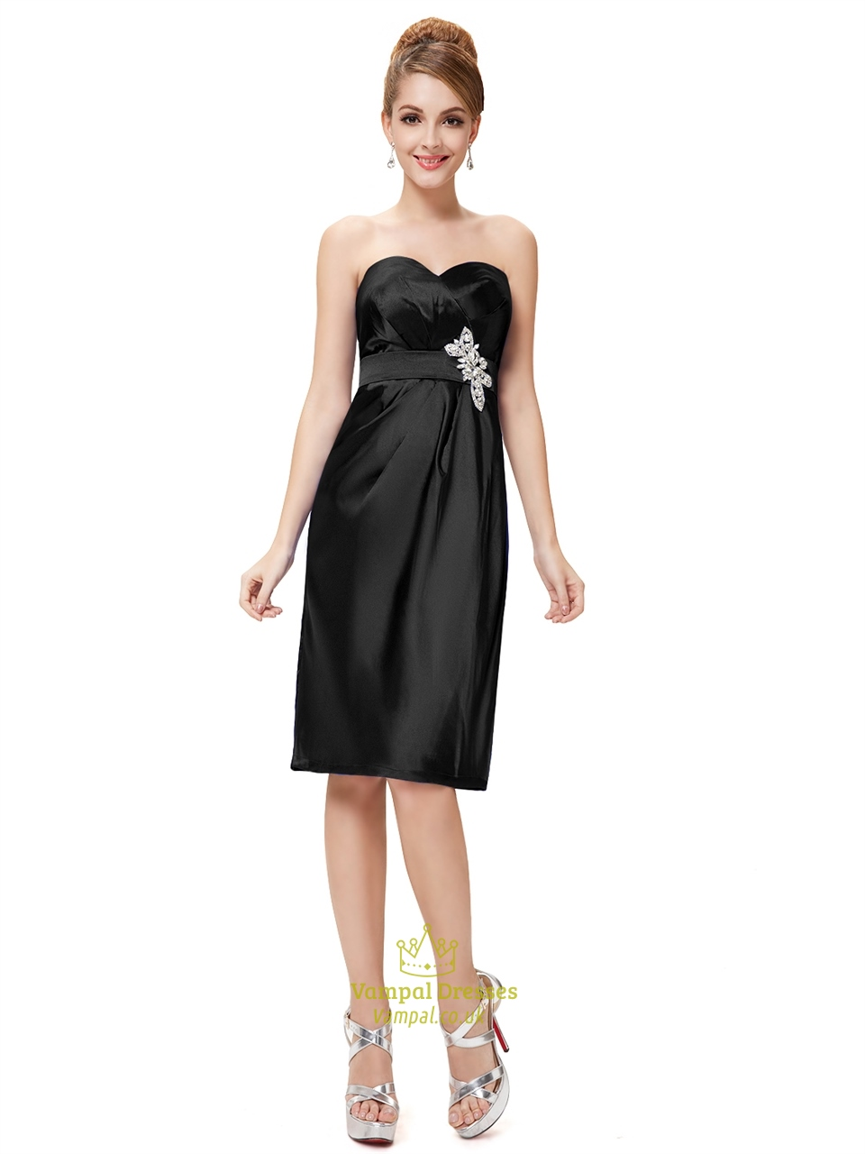 Black Sweetheart Neckline Knee Length Cocktail Dress With