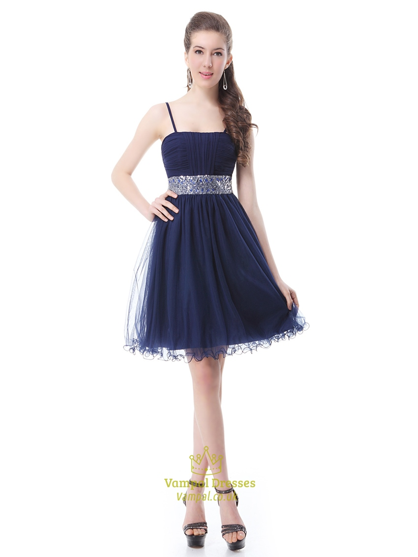 Navy Blue Homecoming Dress With Beaded Waist And Spaghetti ...