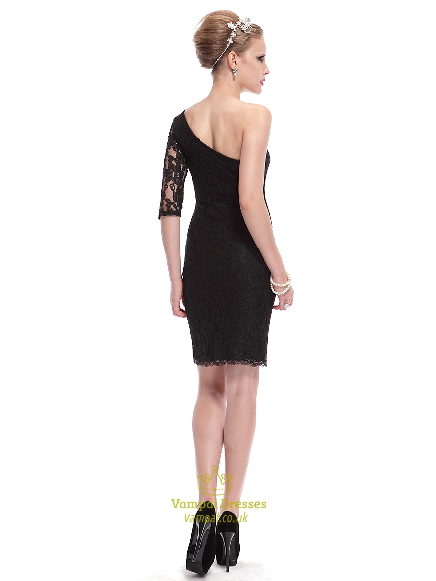 black lace one shoulder sheath short cocktail dress with
