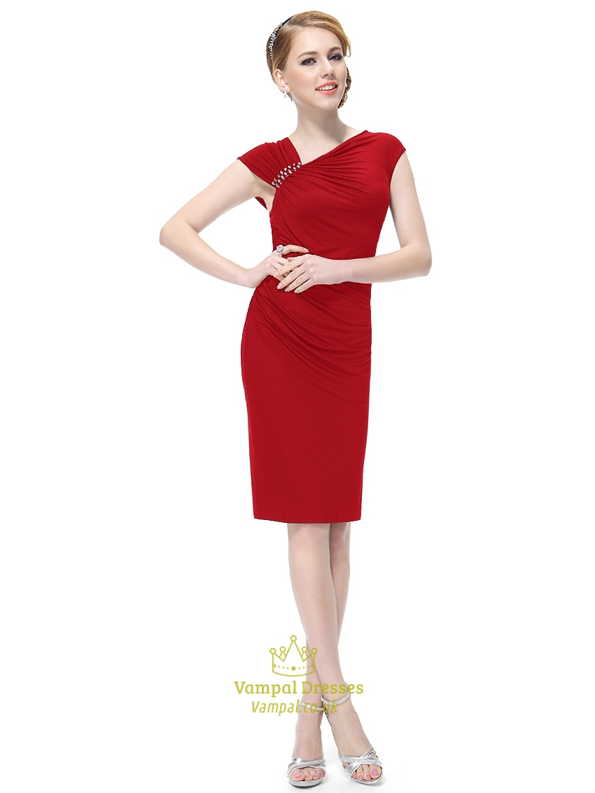 Red Sheath Knee Length Cap Sleeves Cocktail Dress With Beaded Detail ...