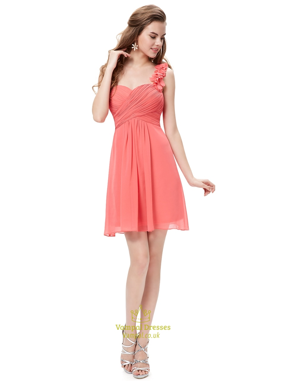 coral chiffon one shoulder short bridesmaid dress with