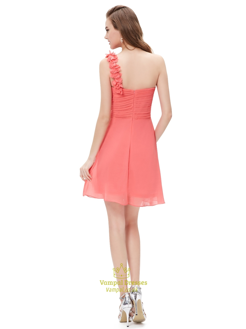 Coral Chiffon One Shoulder Short Bridesmaid Dress With ...
