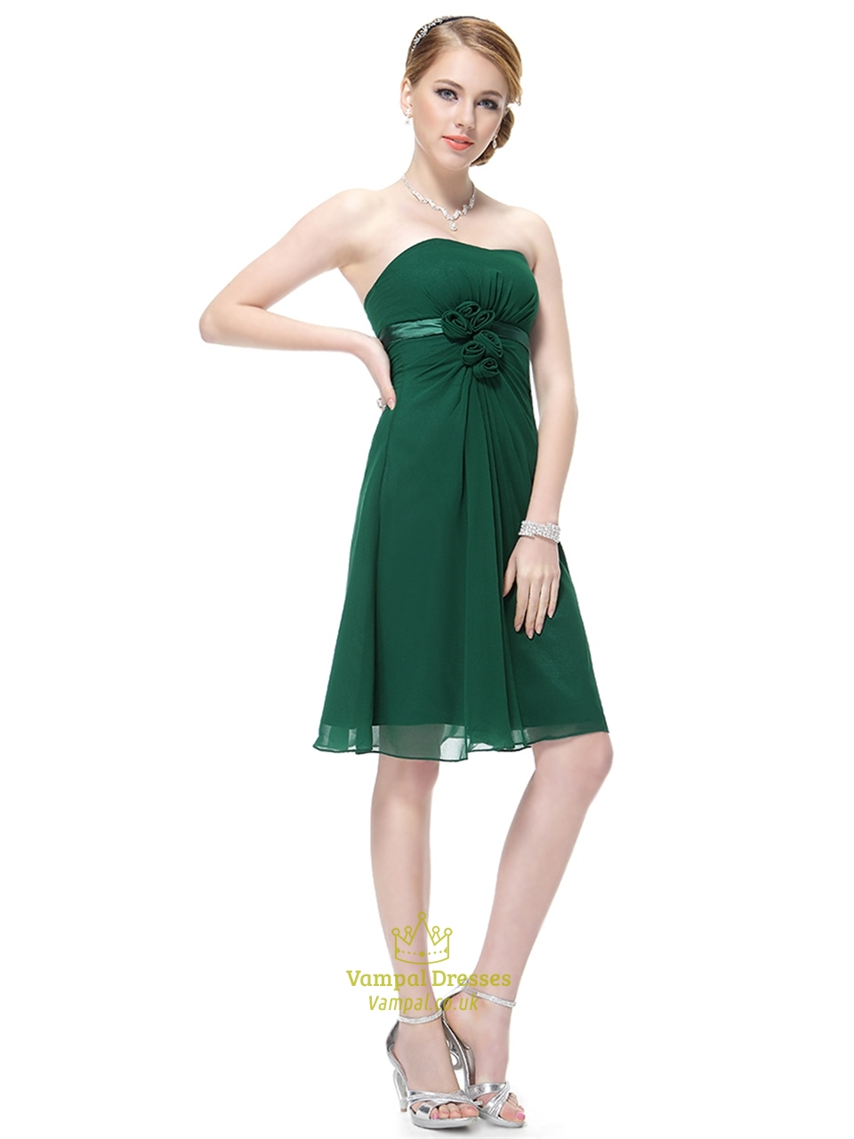 Emerald Green Bridesmaid Dress With Empire Waist And