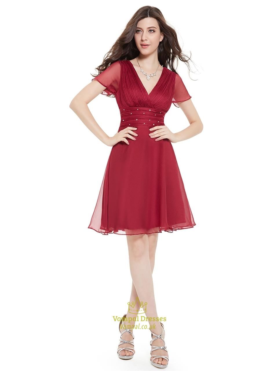 Burgundy Chiffon V-Neck Knee-Length Bridesmaid Dress With Beaded ...