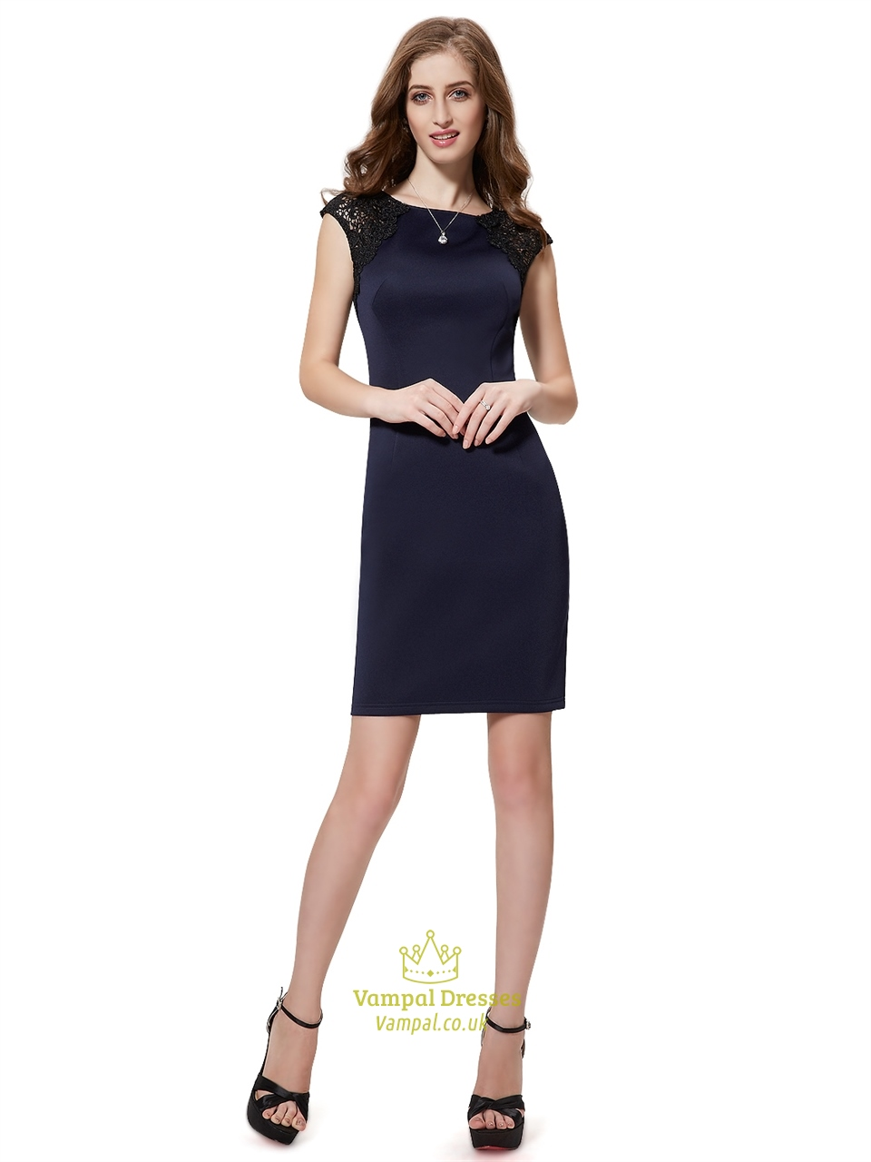Navy Blue Cap Sleeves Knee Length Sheath Cocktail Dress With Lace ...