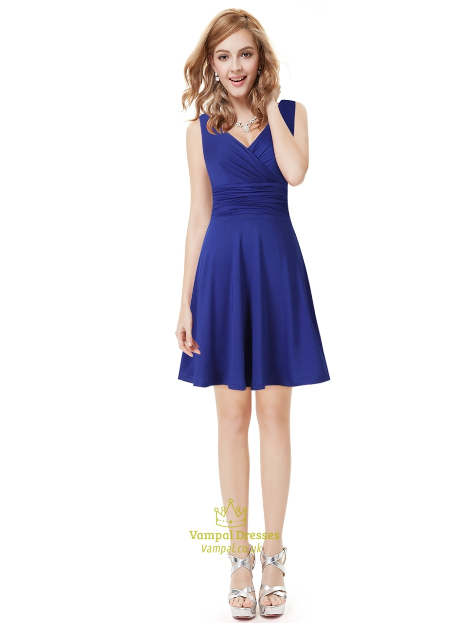 Elegant royal blue short v neck bridesmaid dresses with for Royal blue short wedding dresses