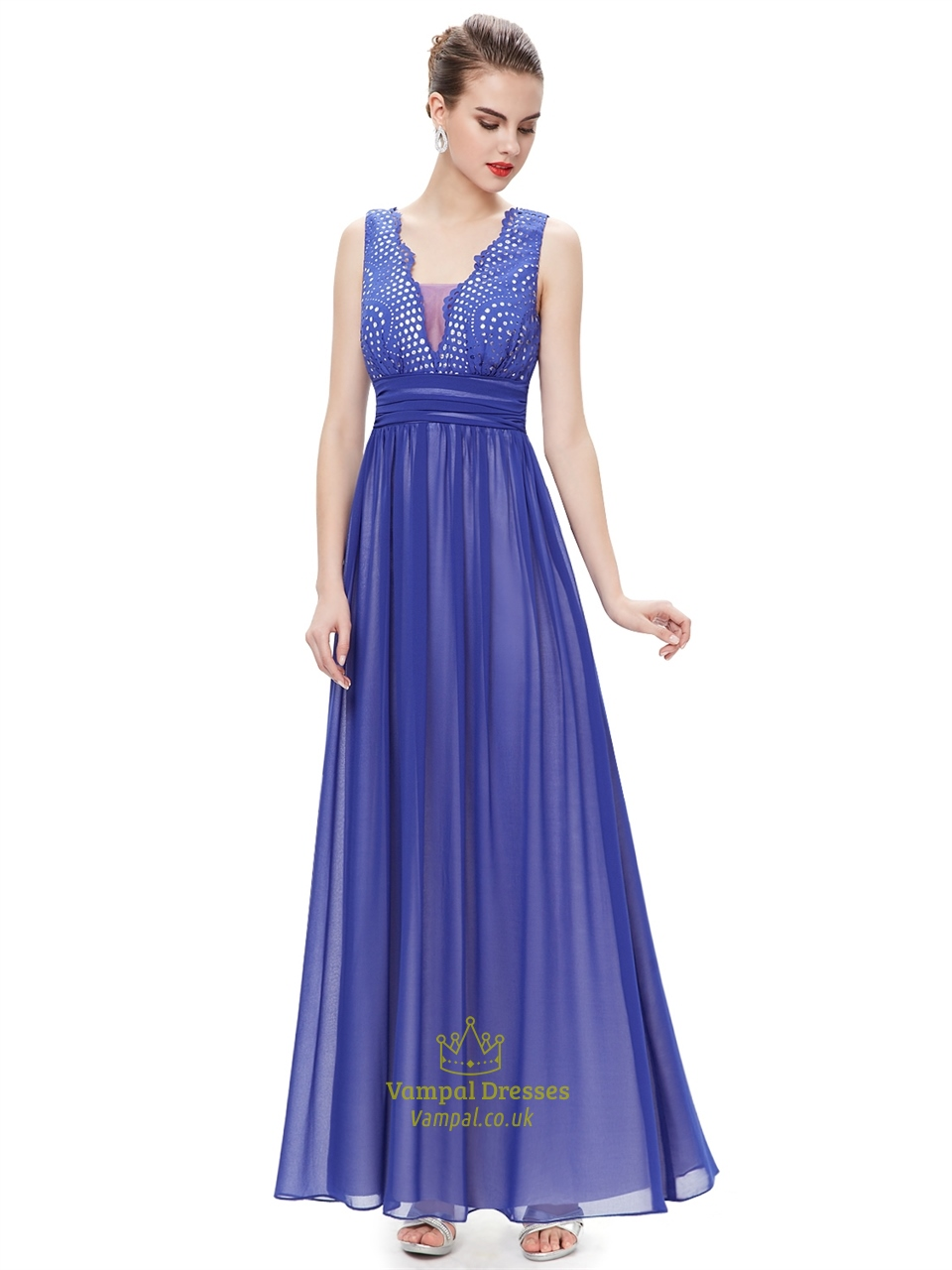 Elegant Royal Blue Chiffon Formal Dresses With Embellished Bodice ...