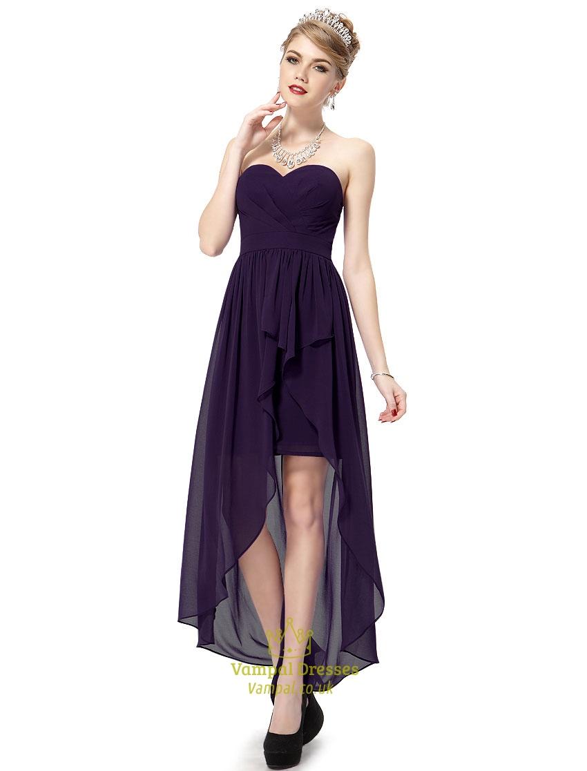 Dark purple sweetheart strapless chiffon high low for Chiffon sweetheart wedding dress