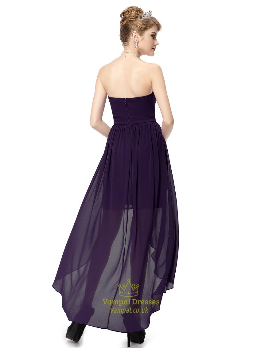 Dark purple sweetheart strapless chiffon high low for High low sweetheart wedding dress
