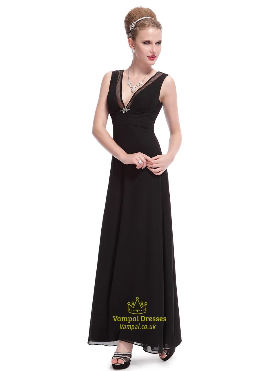 62008872207e Black Chiffon V-Neck Empire Waist Bridesmaid Dress With Beaded Detail