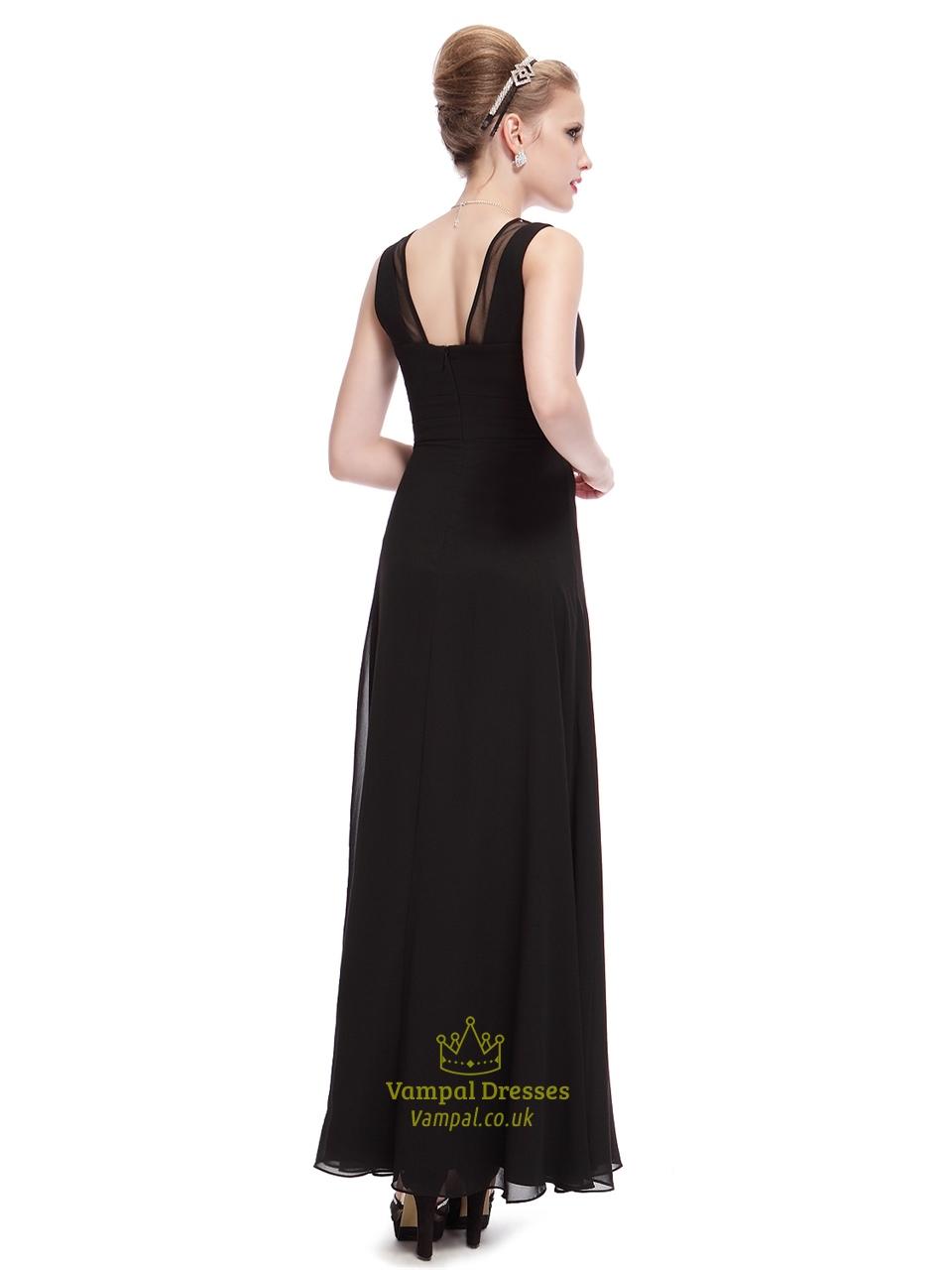 Long Black Dress With Deep V Neck Empire Waist 40