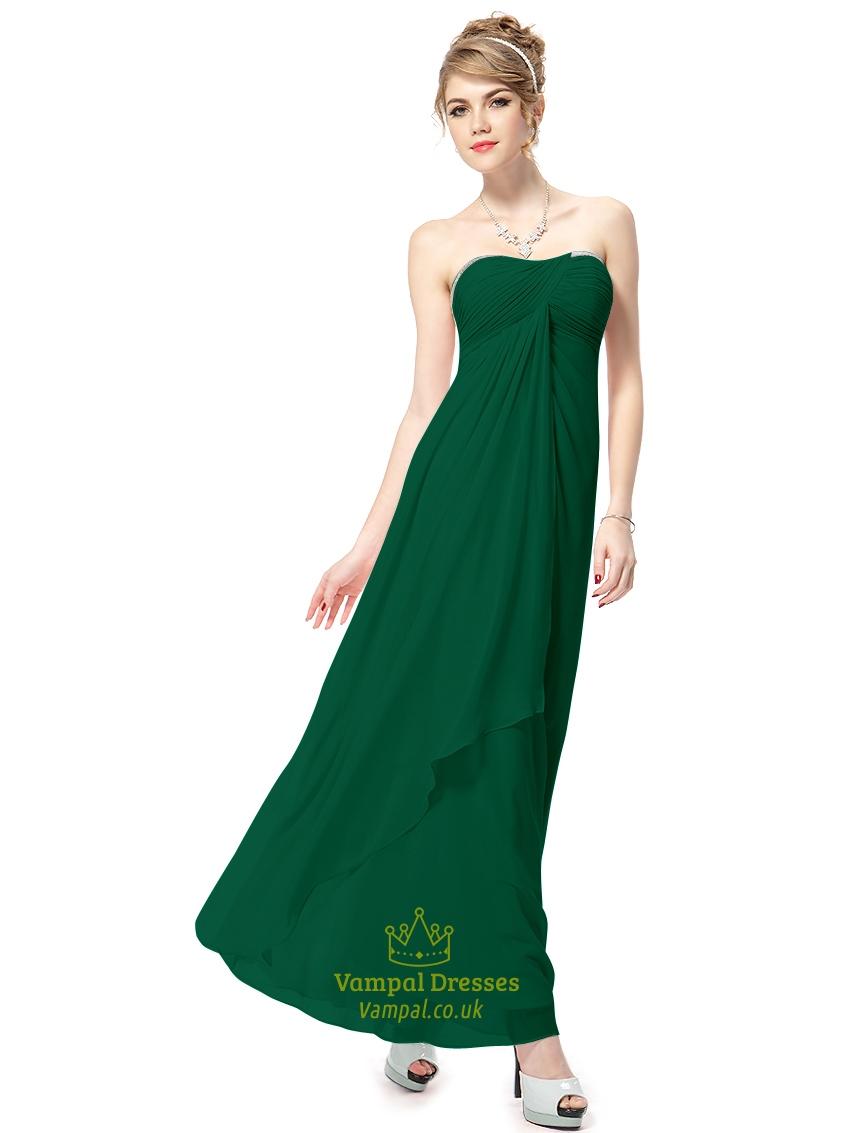 Emerald green chiffon strapless empire waist long for Emerald green dress for wedding