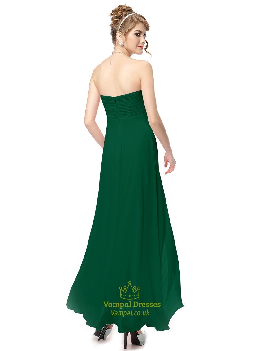 emerald green chiffon strapless empire waist long
