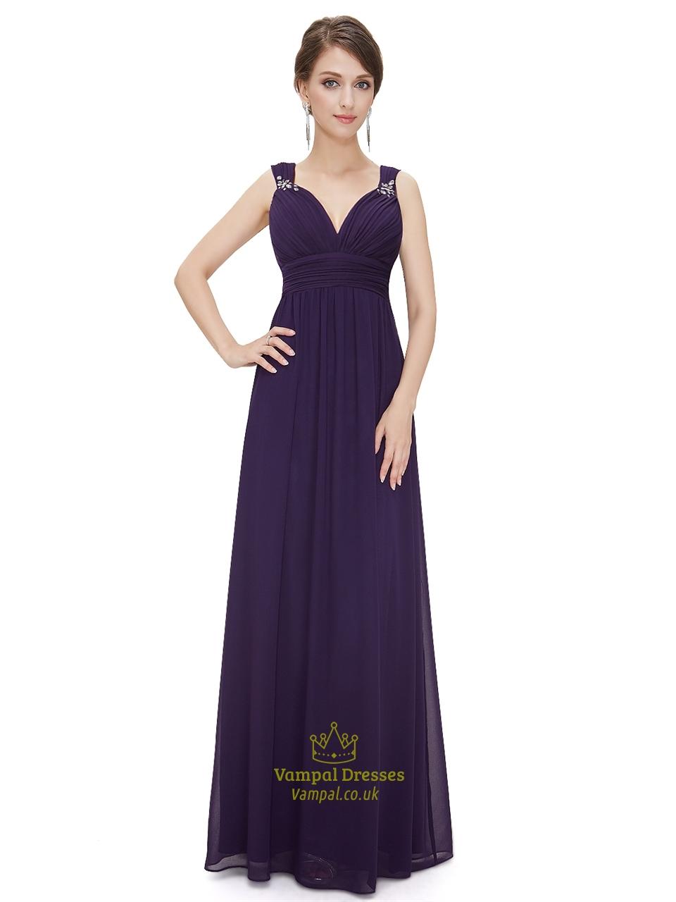 purple sweetheart chiffon bridesmaid dresses with beaded