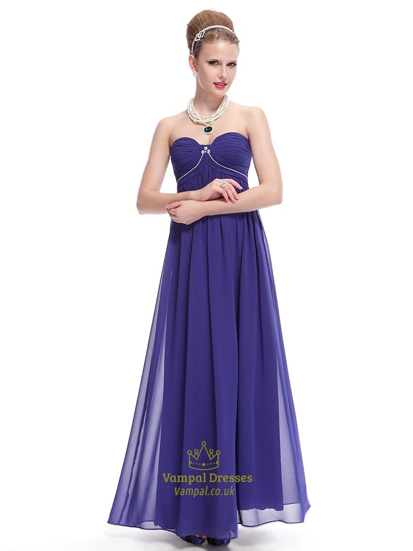 Royal Blue Sweetheart Chiffon Bridesmaid Dresses With Empire Waist ...