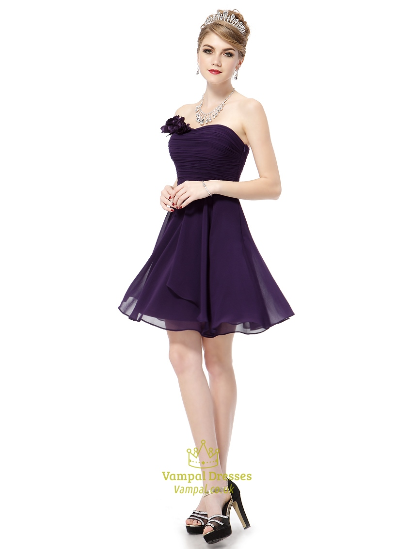 Grape Purple Short Sweetheart Bridesmaid Dresses With