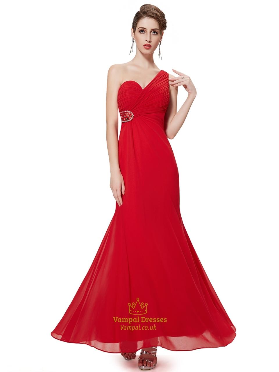Red chiffon one shoulder sheath bridesmaid dresses with for Sheath chiffon wedding dresses
