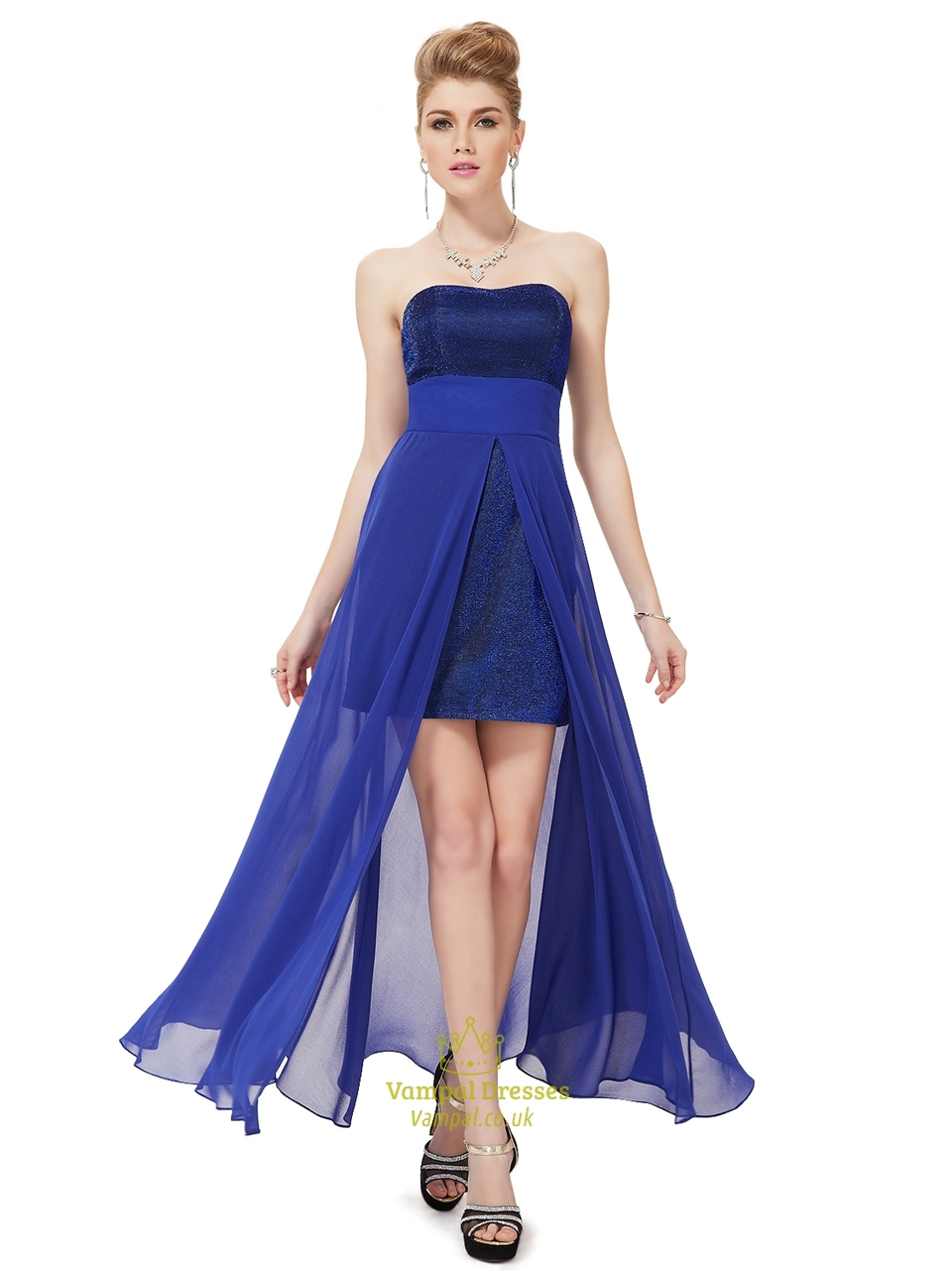 Royal Blue Strapless Chiffon Bridesmaid Dresses With Split