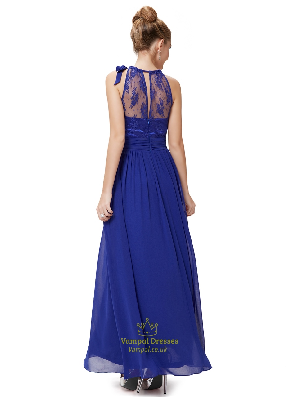 royal blue lace illusion neckline chiffon floor length
