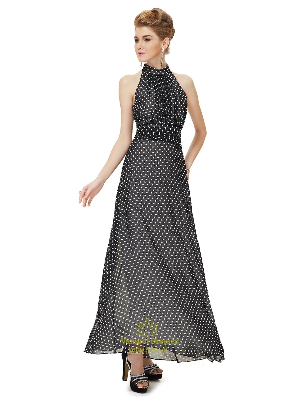 dd2ec3e5bf5c Women S Casual Black And White High Neck Long Polka Dot Summer Dress SKU  -NW1317