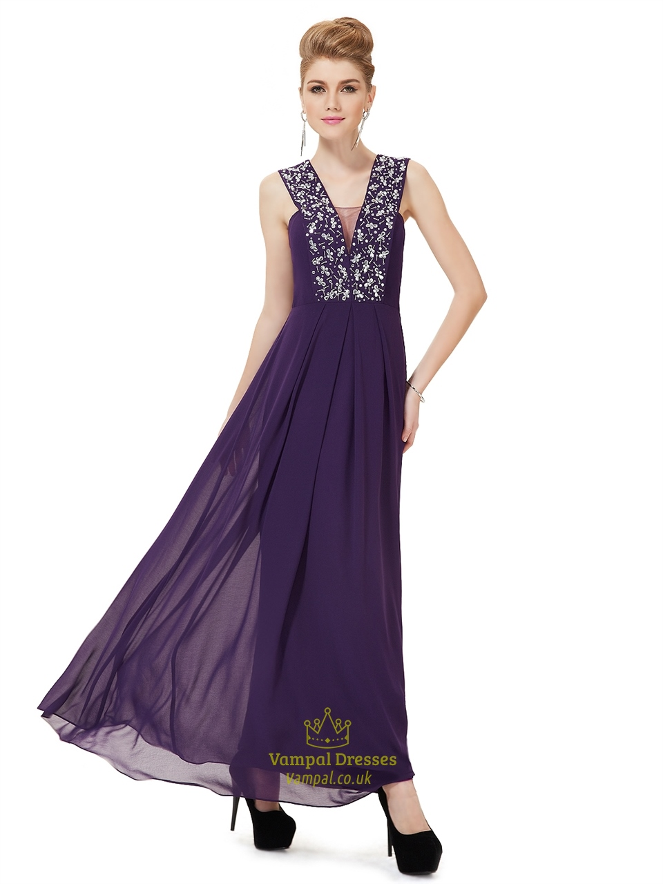 Purple chiffon v neck floor length prom dress with beaded for Floor length dresses