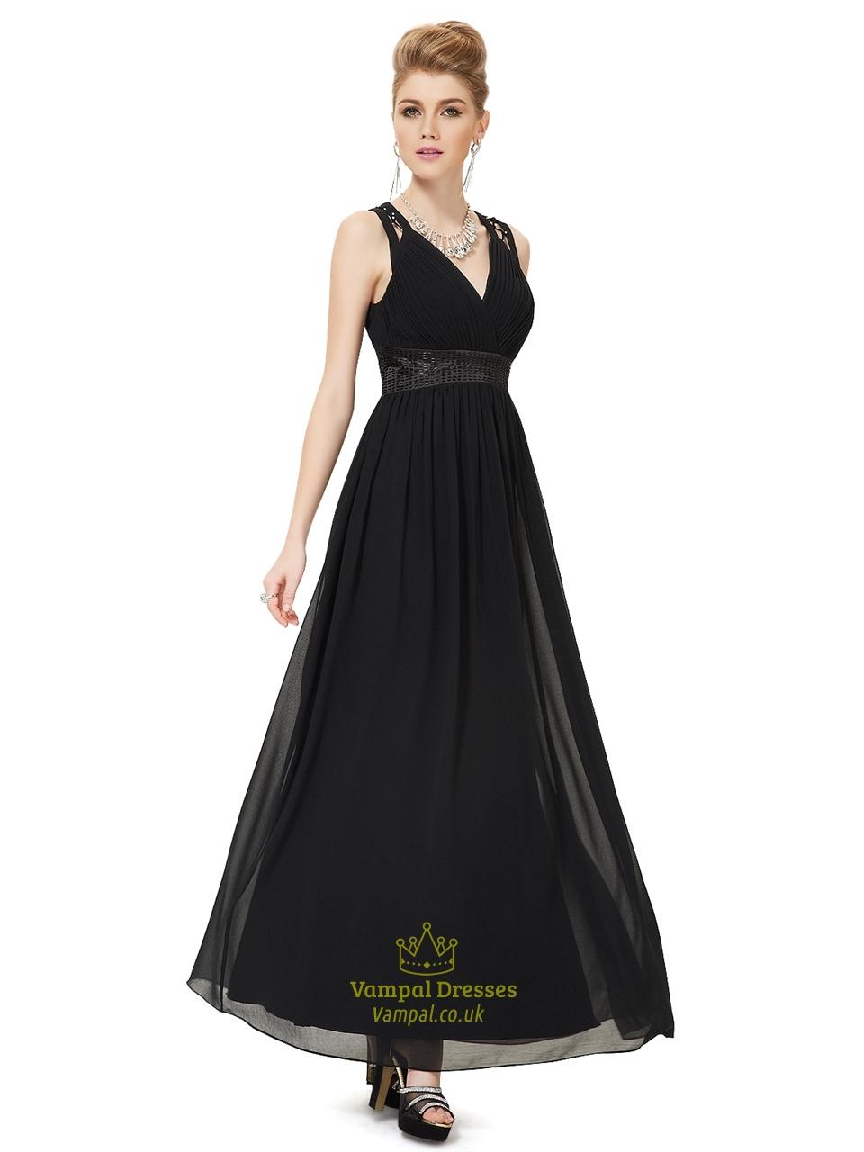 Black Chiffon Long Bridesmaid Dresses