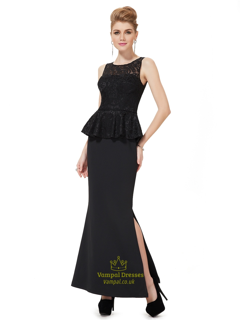 Black mermaid peplum style mother of the bride dresses for Peplum dresses for wedding guest