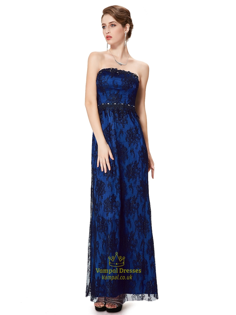 Royal Blue And Black Strapless Lace Prom Dress With Beaded