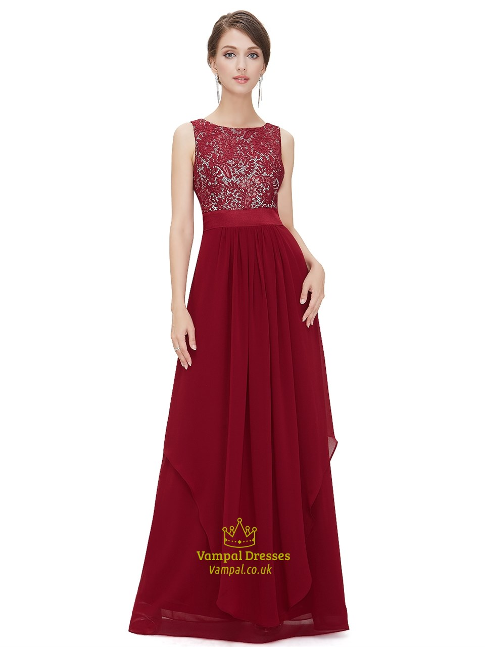 87b82ff19bbcc Burgundy Lace Top Chiffon Bottom Bridesmaid Dresses With Front Cascade SKU  -NW1330