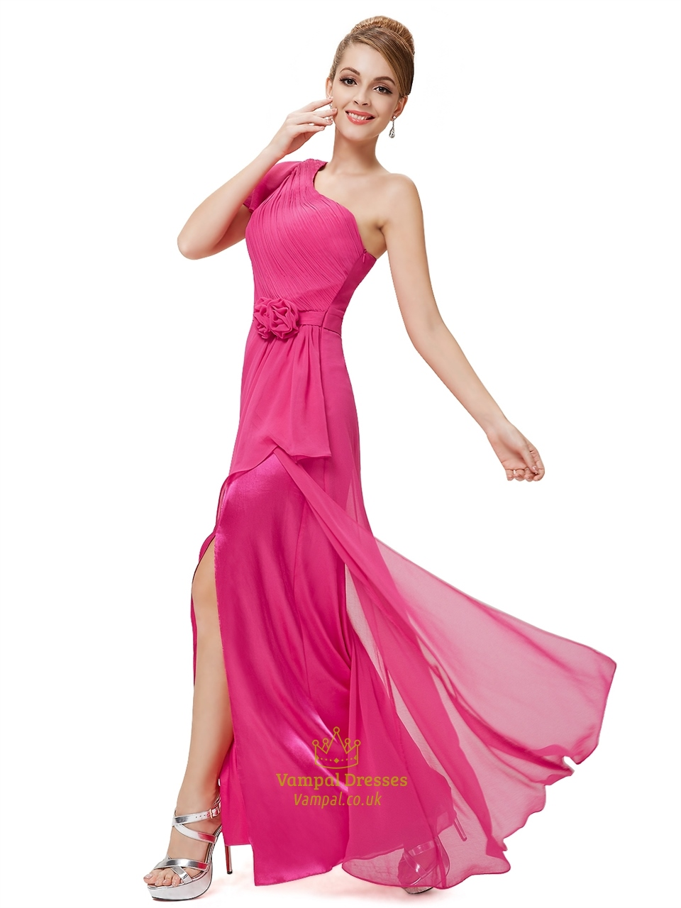 76a12717714 Hot Pink Chiffon One Shoulder Bridesmaid Dresses With Flutter Sleeves SKU  -NW1333