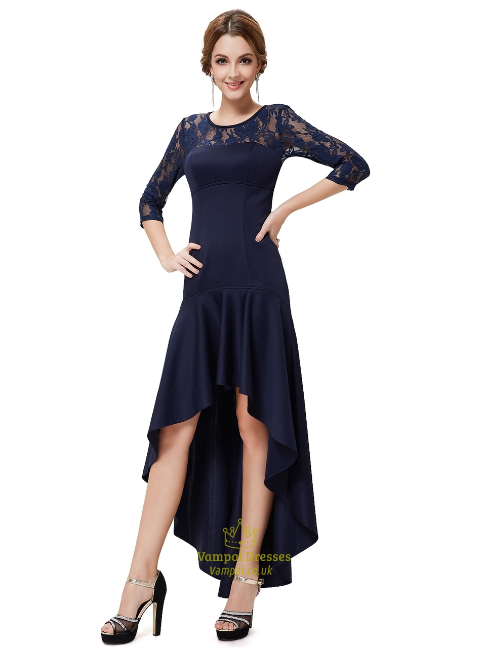 Navy Blue Lace Illusion Neckline High Low Dress With 3 4