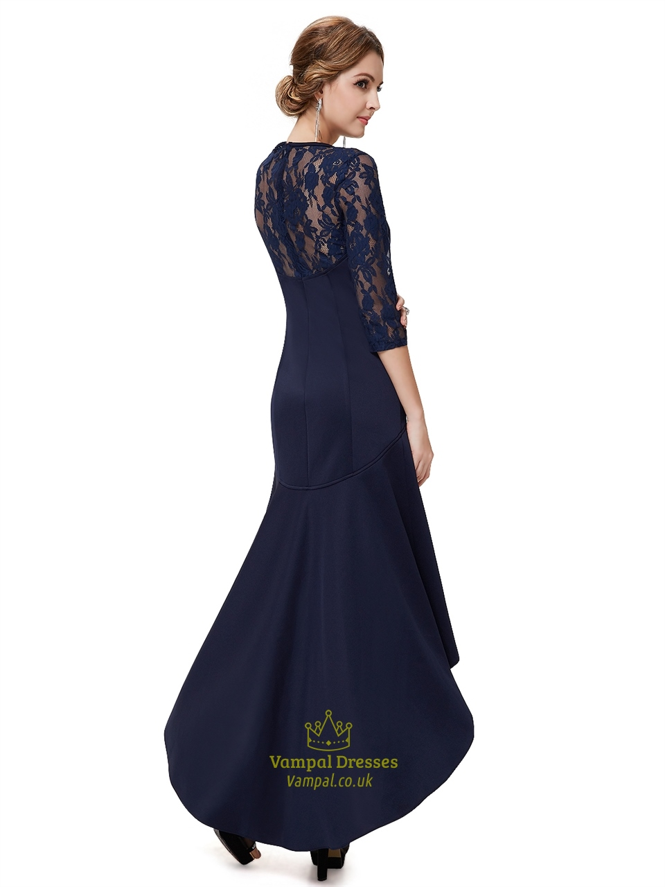 199e2a610a Navy Blue Lace Illusion Neckline High Low Dress With 3 4 Sleeves ...