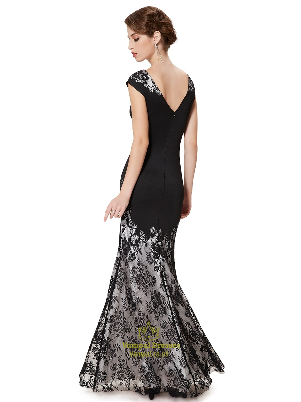 Elegant Black Mermaid Lace Floor Length Prom Dress With ... Lace Prom Dresses With Sleeves