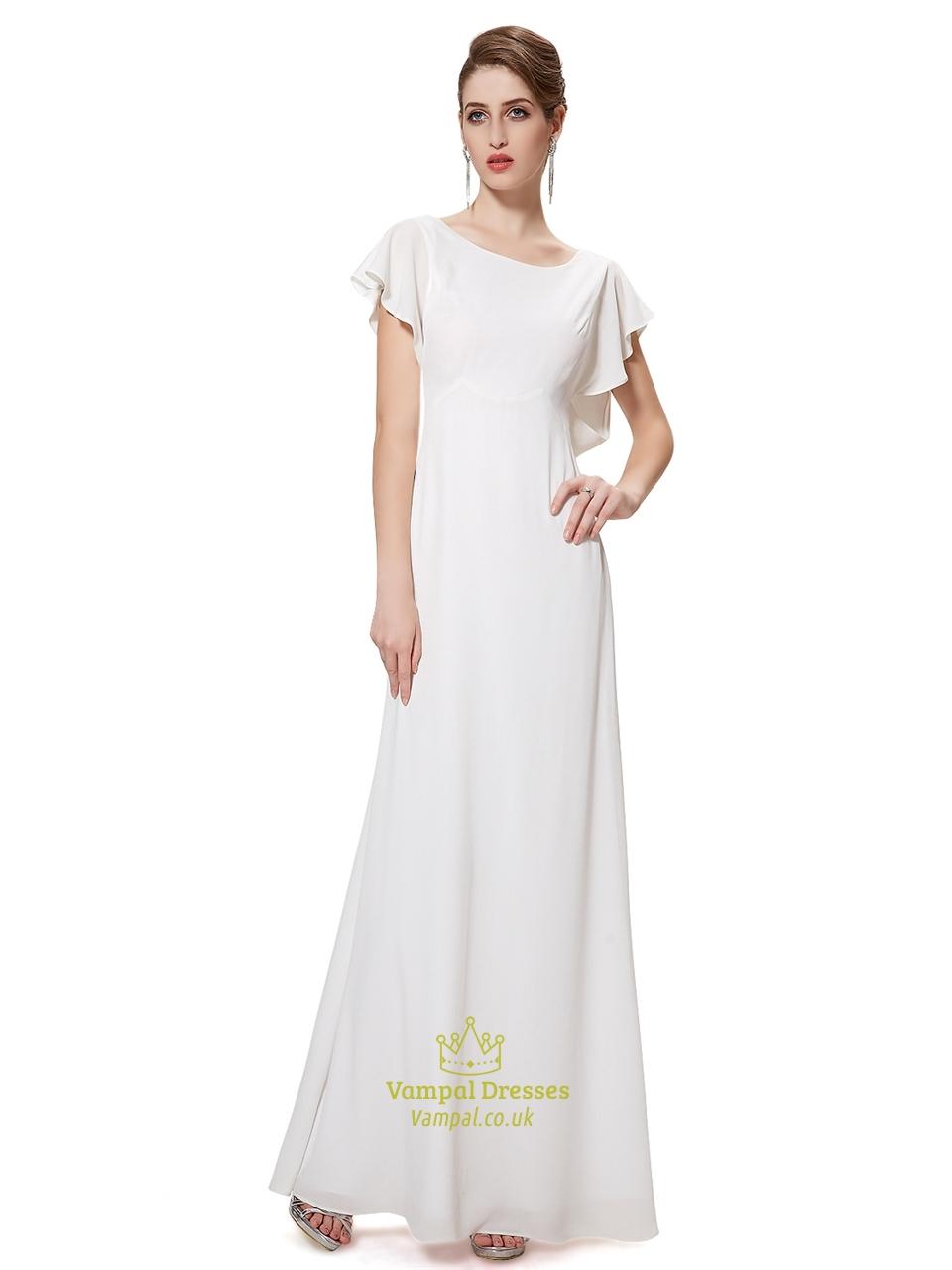 Ivory Chiffon Sheer Back Long Bridesmaid Dress With ...
