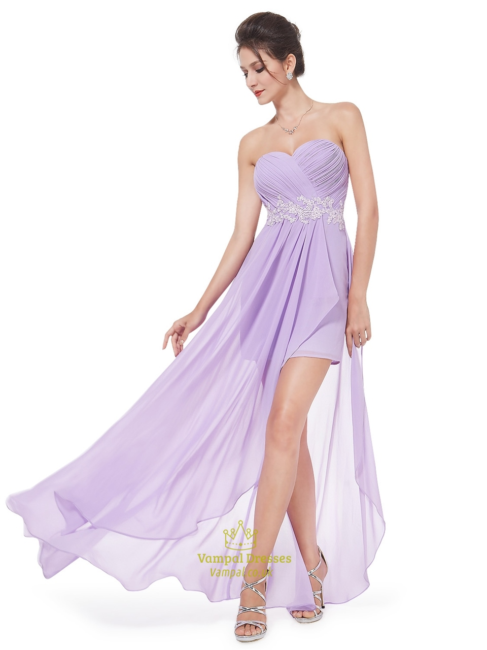 Lilac Chiffon Sweetheart High Low Bridesmaid Dress With
