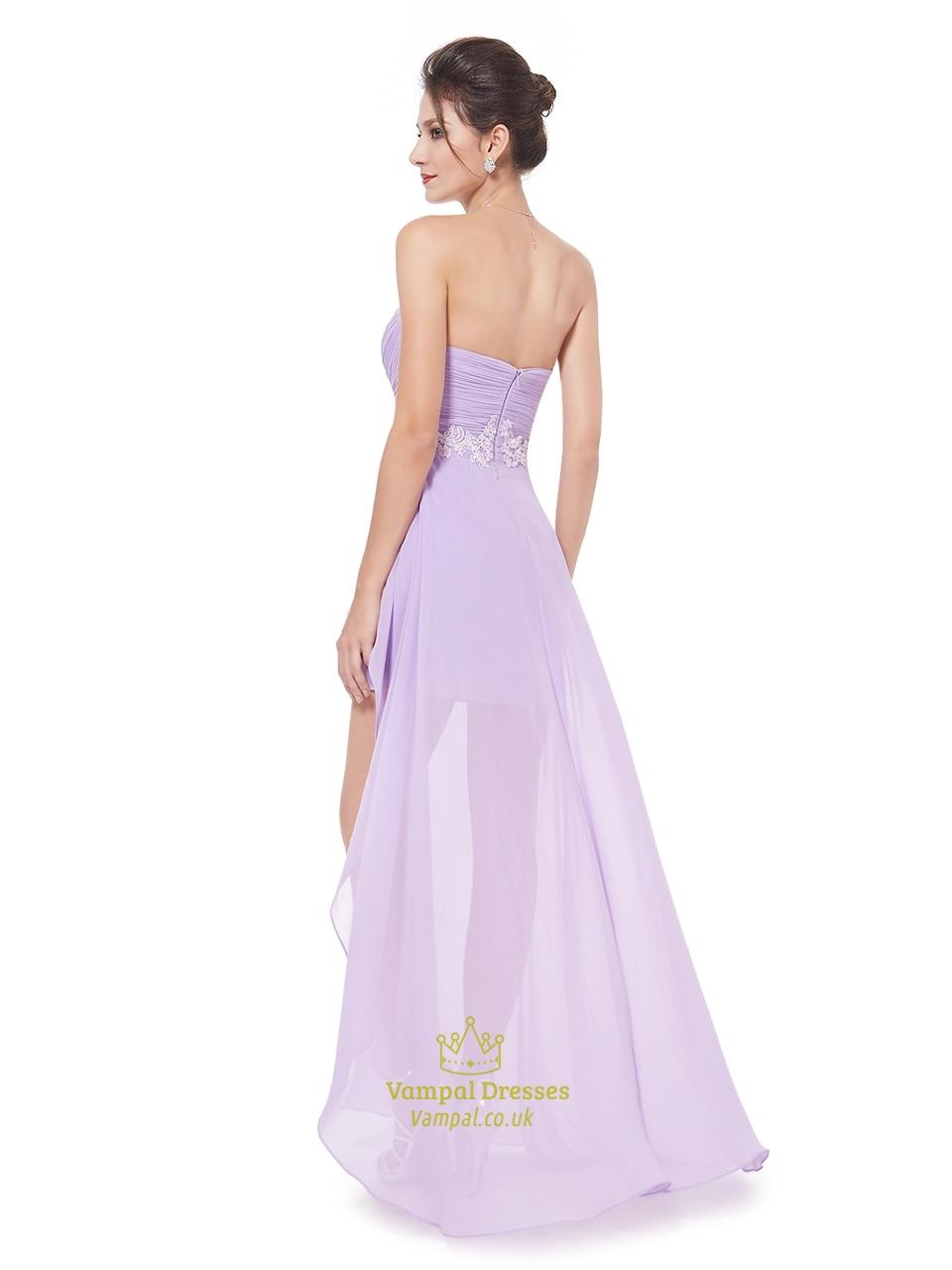 lilac chiffon sweetheart high low bridesmaid dress with