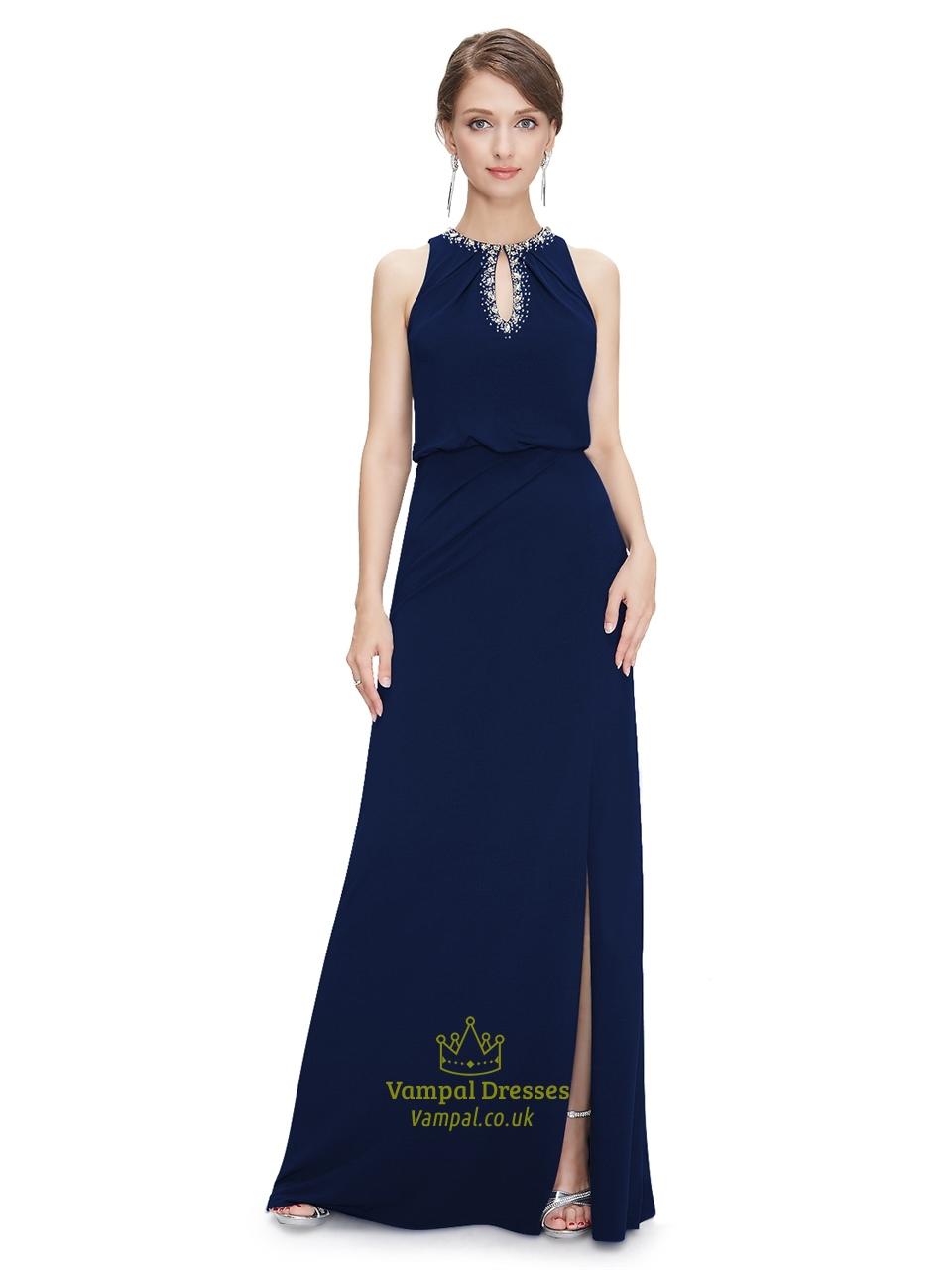 Navy Blue Chiffon Jewelled Neckline Prom Dress With Keyhole Detail ...