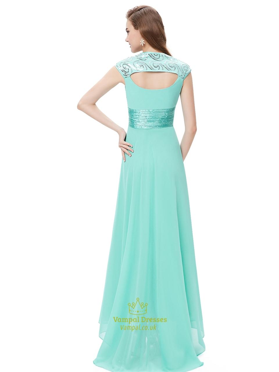 mint green chiffon sweetheart bridesmaid dresses with cap