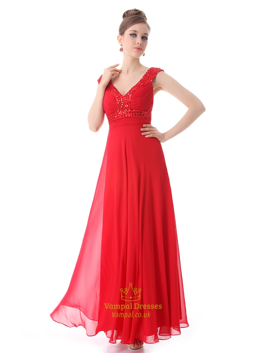 Red Chiffon V Neck A Line Prom Dress With Beaded Neckline And Straps | Vampal Dresses