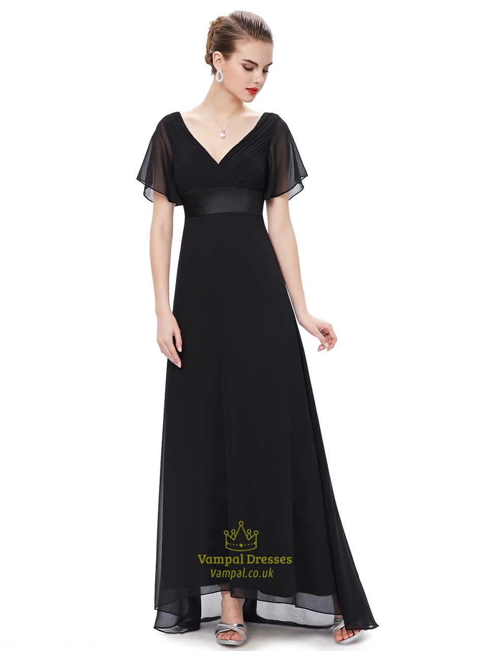 Black V Neck Chiffon Long Bridesmaid Dress With Flutter Sleeves ...