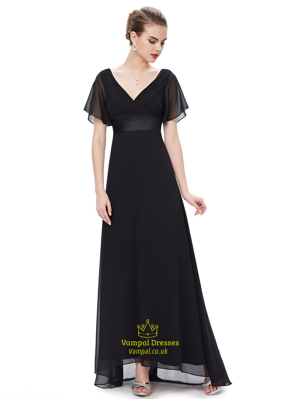 7937fbcf4a4 Black V Neck Chiffon Long Bridesmaid Dress With Flutter Sleeves SKU -NW1366
