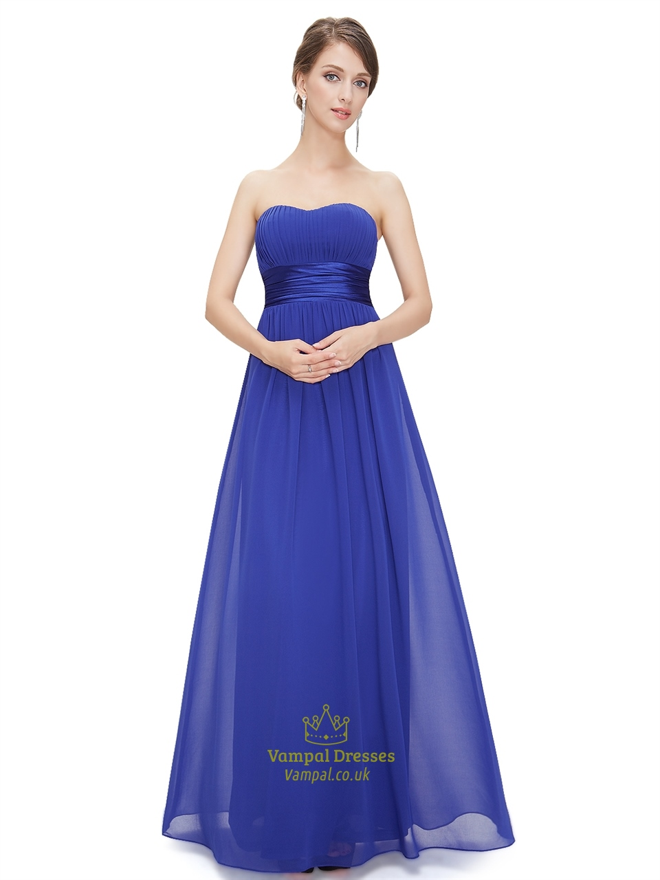 Royal blue chiffon strapless long bridesmaid dress for for Long blue dress for wedding