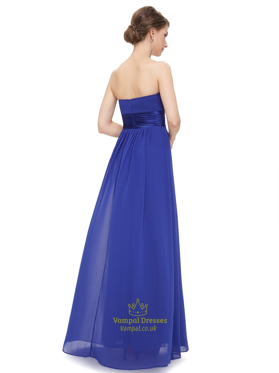 Royal blue chiffon strapless long bridesmaid dress for for Blue beach wedding dresses