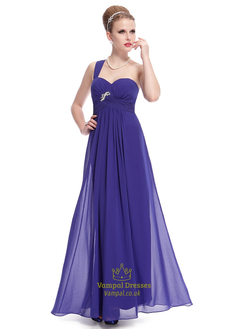 Royal Blue One Shoulder Chiffon Bridesmaid Dress With Beaded Detail ...